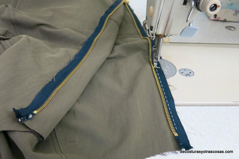como coser una cremallera a una chaqueta bomber
