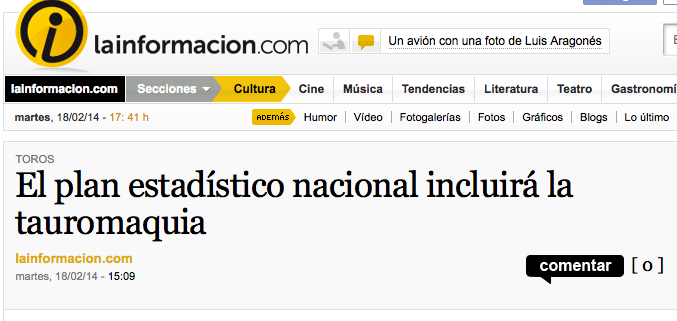 http://noticias.lainformacion.com/arte-cultura-y-espectaculos/toros/el-plan-estadistico-nacional-incluira-la-tauromaquia_6K42a8HFwene5vcvPVjFg4/