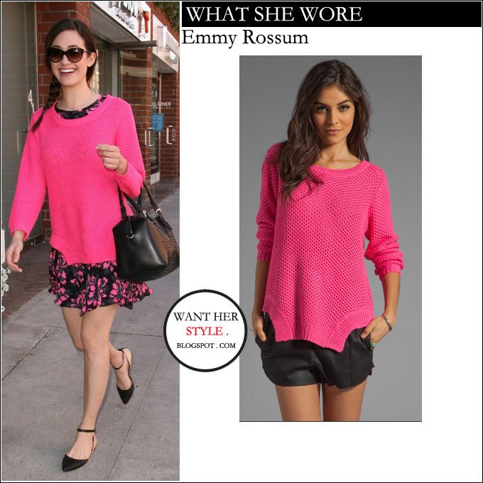WHAT SHE WORE: Emmy Rossum in hot pink knit sweater in Beverly ...