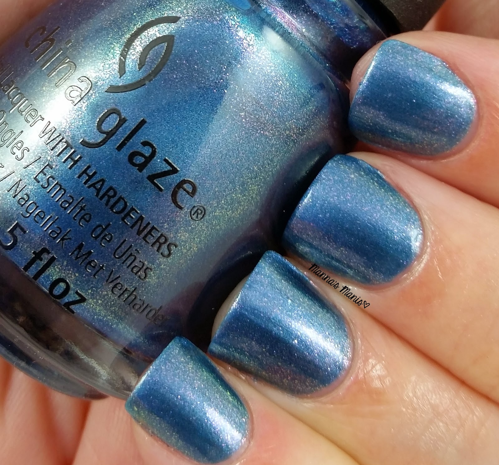 china glaze december to remember, a blue shimmer nail polish