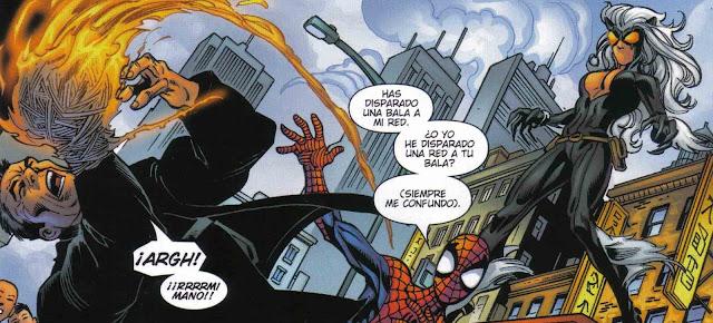 Spiderman+haciendo+uno+de+sus+famosos+chistes+para+verguenza+de+Gata+Negra