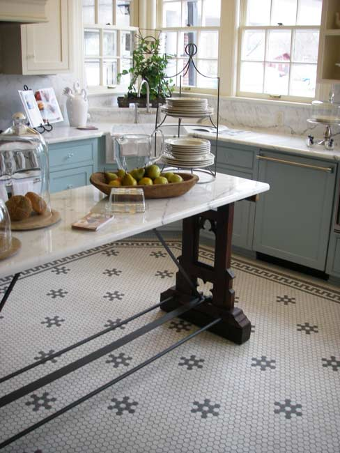 black and white floor tile kitchen.  Aesthetic Oiseau Hexagon Tile Kitchen Floor