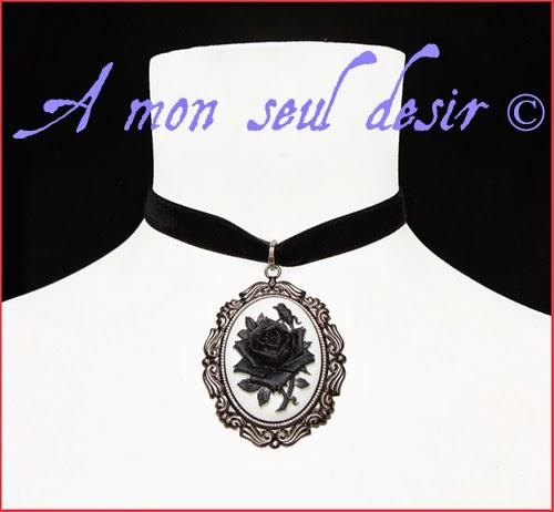 collier ras de cou velours noir gothique victorien camée fleur noire gothic gothik victorian goth choker necklace cameo black flower