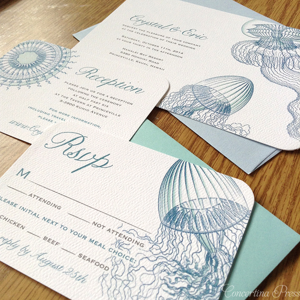 Haeckel Jellyfish Nautical Wedding Invitations by Concertina Press