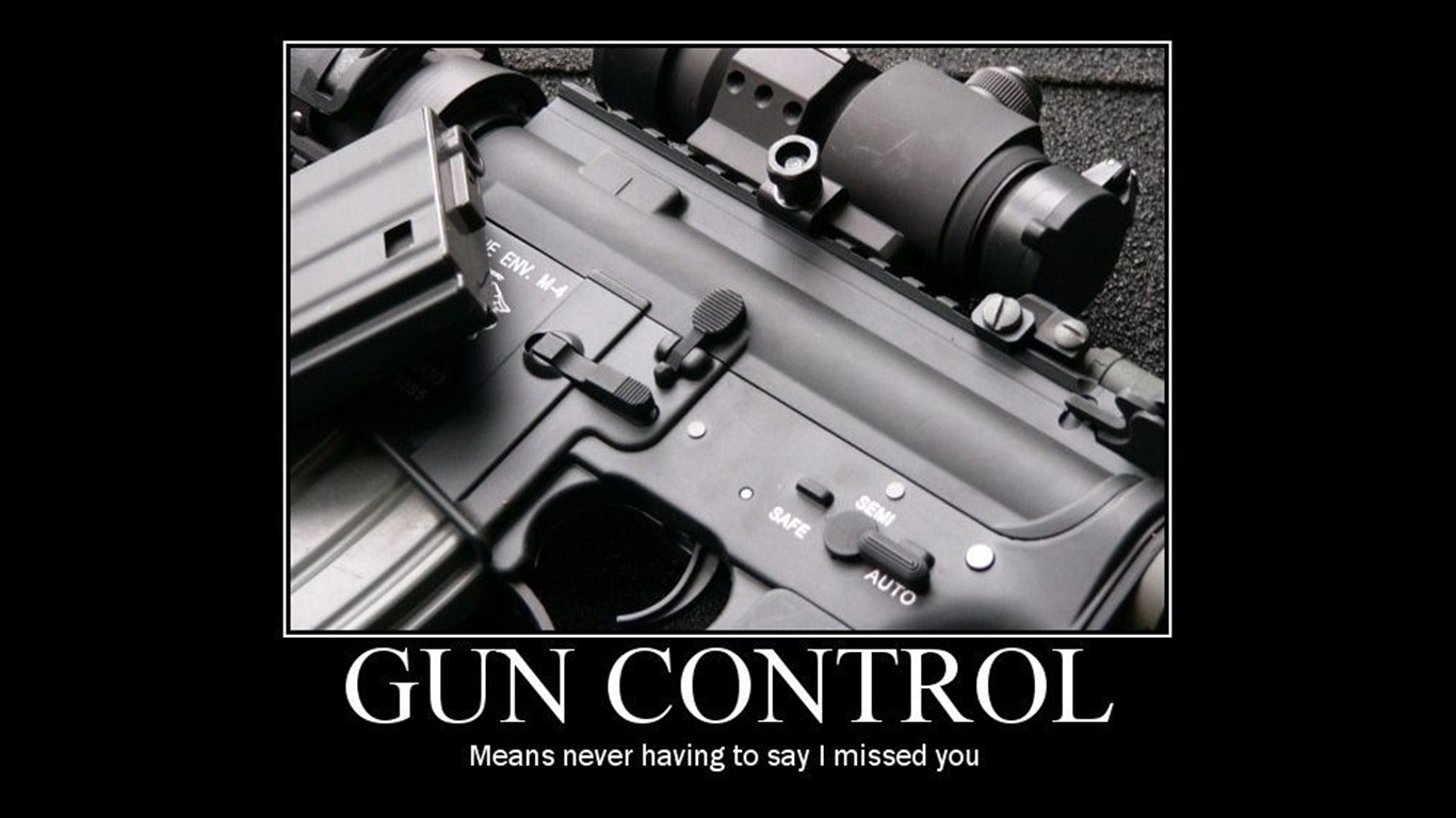 "gun control is it a problem I want to answer the question in different way because there is a problem here the problem is the wording of the question itself ""gun control"" is not something."