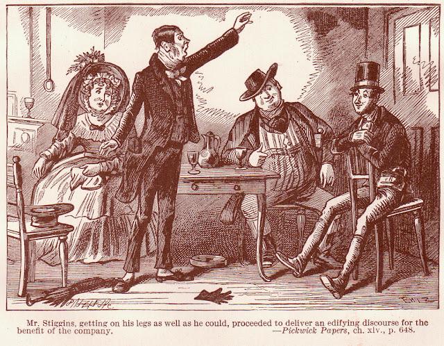 caricatura ambientada en el siglo xix de un hombre dando un discurso