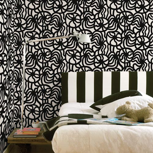 Comfortable bedroom modern wallpaper design for Black and white wallpaper for bedroom