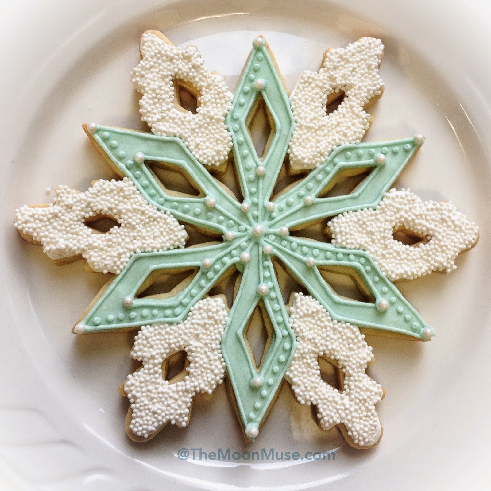 Blue Snowflake Decorated Sugar Cookie