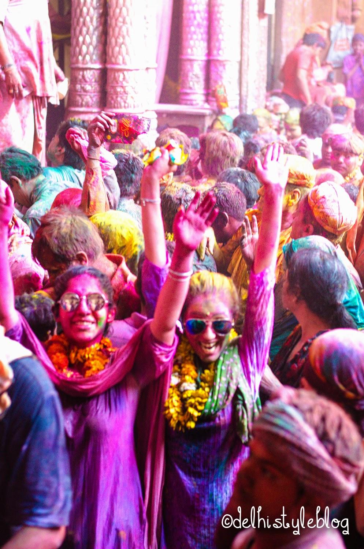 Holi at Banke Bihari Temple 13