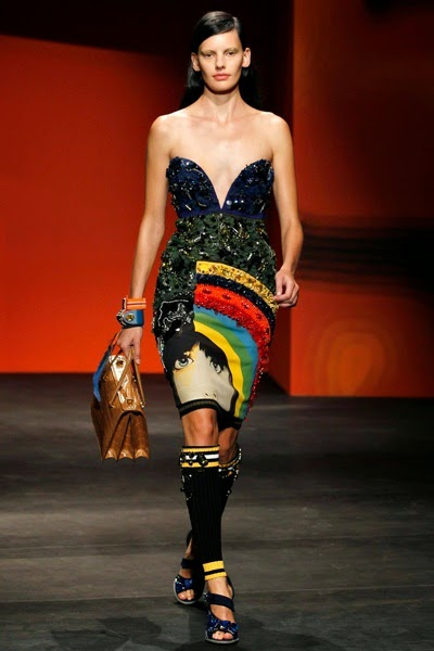 Prada 2014 SS RTW Pop-Art Sequins Rainbow Face Dress