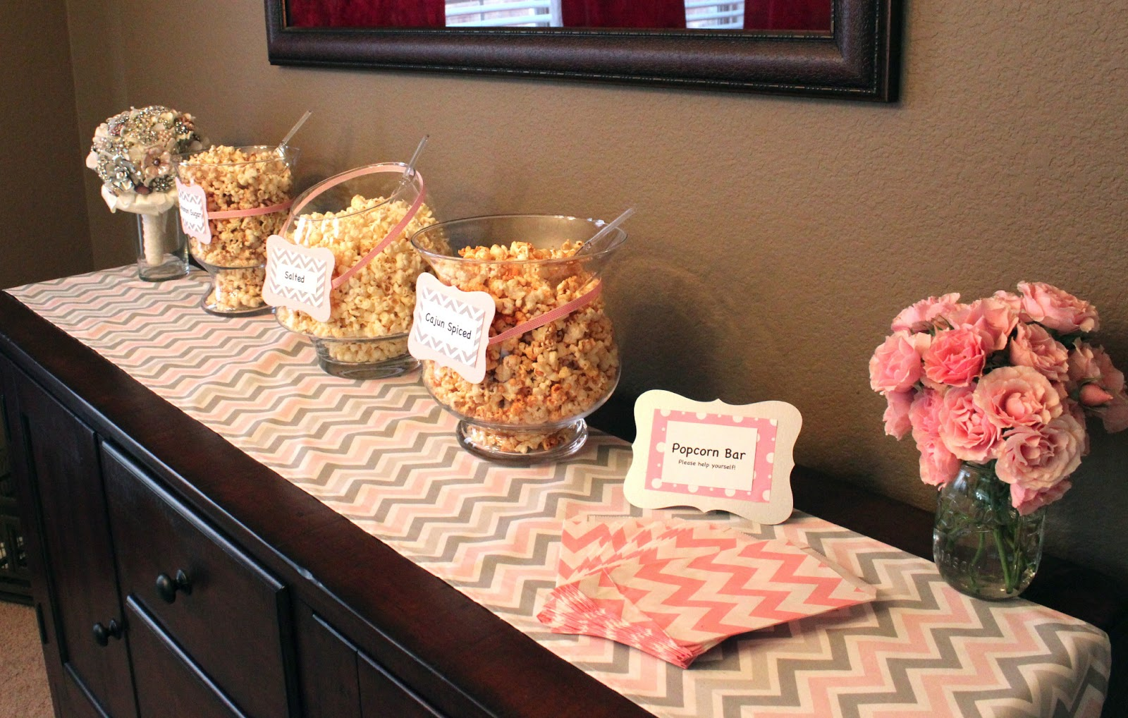 john and rachel pink grey chevron baby shower