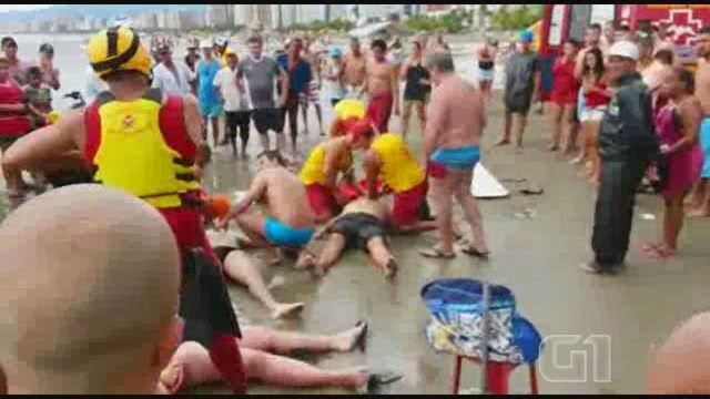 Mortos por raio na praia grande litoral de São paulo