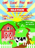 farm animal printable personalised birthday invitation