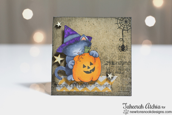 Cat Halloween Card by Taheerah Atchia for Newton's Nook Designs | Newton's Perfect Pumpkin Stamp Set