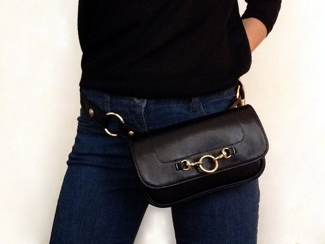 Black Belt Bag with Horsebit by Hipsters for Sisters