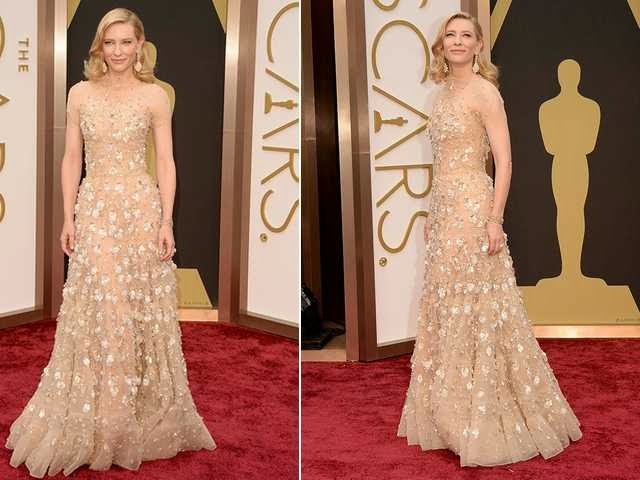 Vestido longo nude de celebridade - Oscar/2014