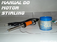 Manual do motor Stirling, solda de estanho para soldar a bucha