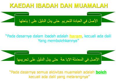 KAIDAH FIQHIYYAH 2 : ASAL HUKUM IBADAH & ASAL HUKUM MUAMALAH
