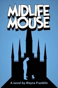 Book cover showing the profile of a man looking at a mouse in front of Cinderella castle