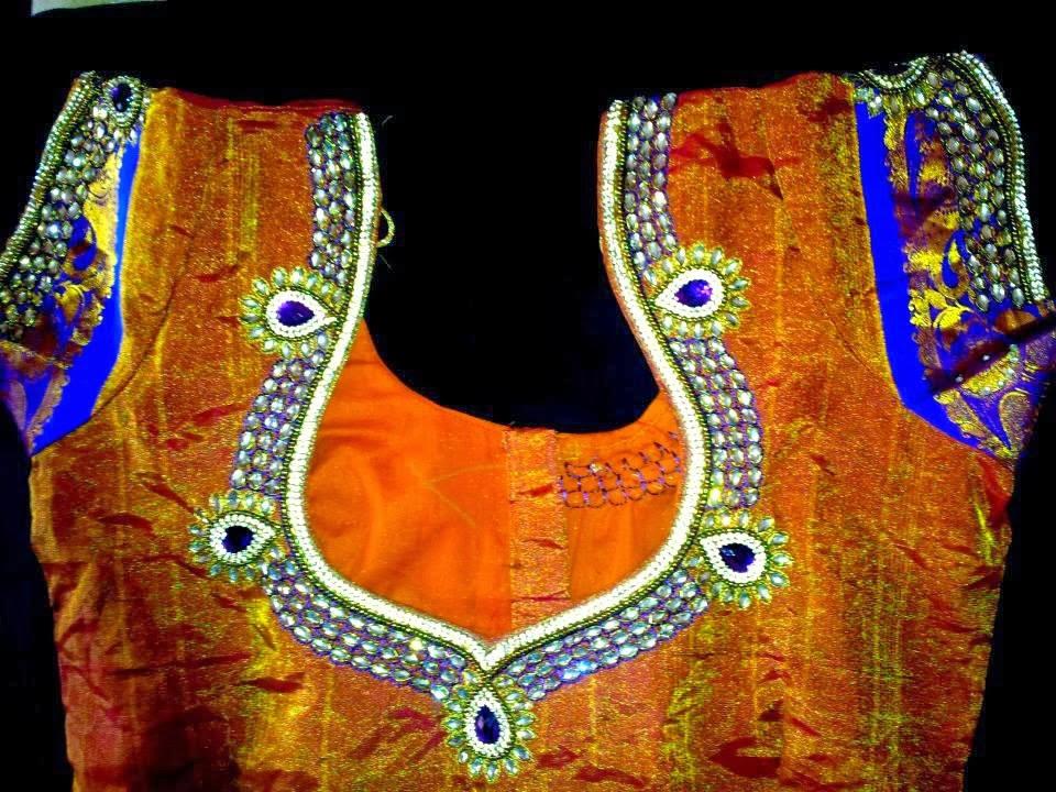 Sparkling Fashion Blouse Back Neck DesignsSstone Work On