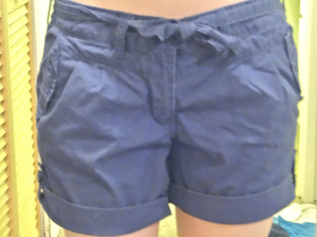 navy blue shorts with waist tie and buttons, from salvation army vancouver