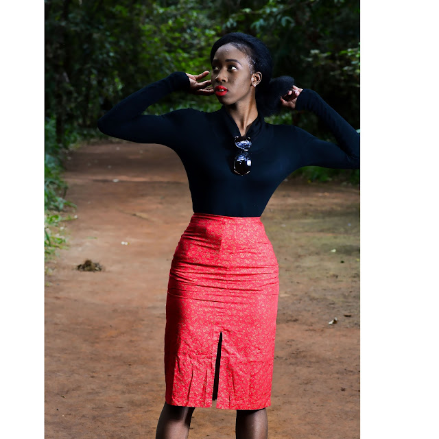 Ezil, style with ezil, african fashion blogger, Kenyan fashion blogger, Kenyan designer, Thrift Transformations, Pencil skirts, FronT slit skirts, How to wear a red Skirt, How to style a red front slit skirt.,