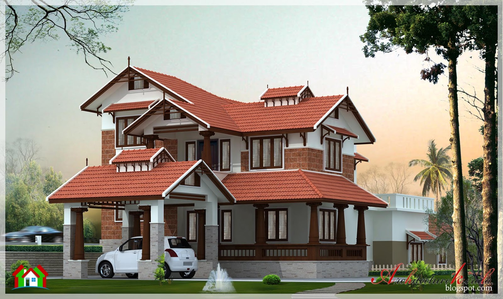 2900 square feet beautiful kerala style house for Different mansion styles