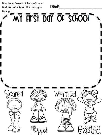 created a quick writing page for the first day of school. We all ...