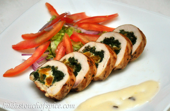 Chicken Roulade Stuffed With Cheese Spinach Amp Apricots