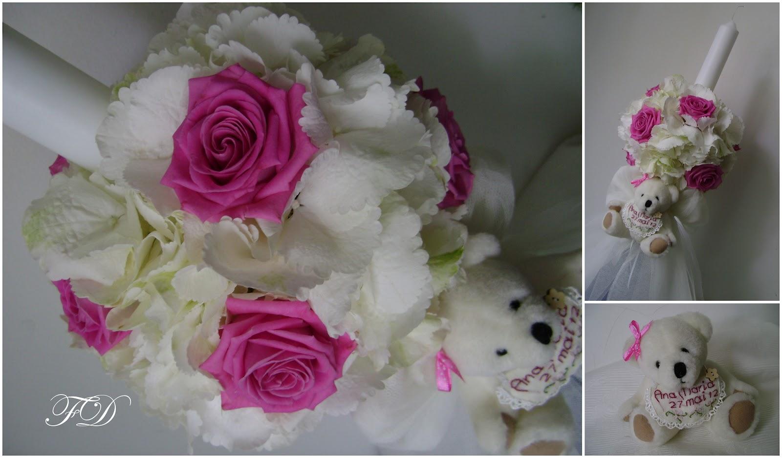 flower decor mini lumanarica de botez ana maria hortensie alba si trandafiri aqua. Black Bedroom Furniture Sets. Home Design Ideas