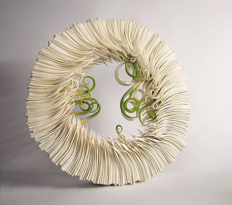 Cerámica parecido al papel imita a los brotes de hojas de hierba