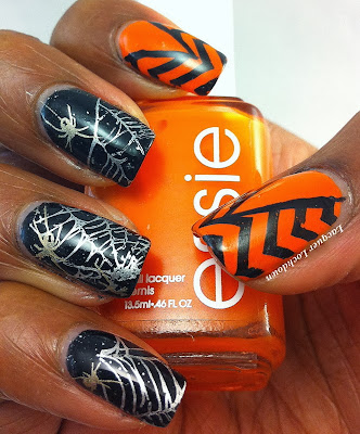 Lacquer Lockdown - stamping, nail art, Orly Goth, Essie Fear or Desire, spiderwebs, spiders, halloween nail art, halloween, chevron nail art, china glaze passion, essie no place like chrome, vivid lacquer, vivid lacquer stamping plates, vivid lacquer image plates, VL010, VL013,  orange and black nail art, halloween nails, easy nail art, cute nail art, trigger finger mani, trigger finger accent nails, chevrons, spiders, cobwebs, spooky nails, cute nails