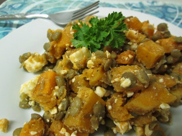 spicy squash salad with lentils and feta