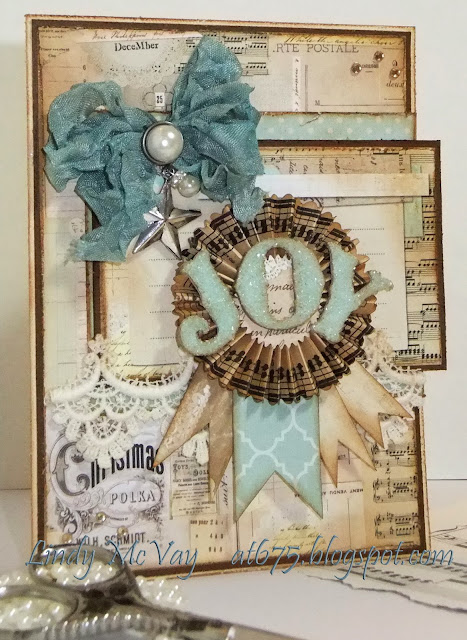Zva, Simon Says Stamp Challenge, handmade card, German glass glitter, Christmas, Christmas card, Tim Holtz, Tim Holtz distress ink, My Mind's Eye, My Mind's Eye All is Bright Collection, Martha Stewart punch, Making Memories, Hug  Snug ribbon, joy, pearl brad, rosette, vintage, shabby chic,