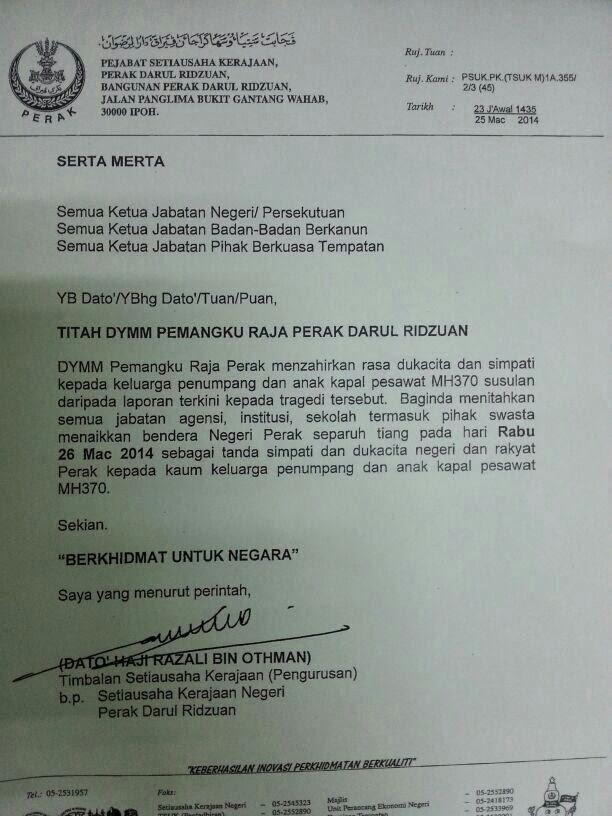 Titah Pemangku Raja Perak #MH370 #prayformh370