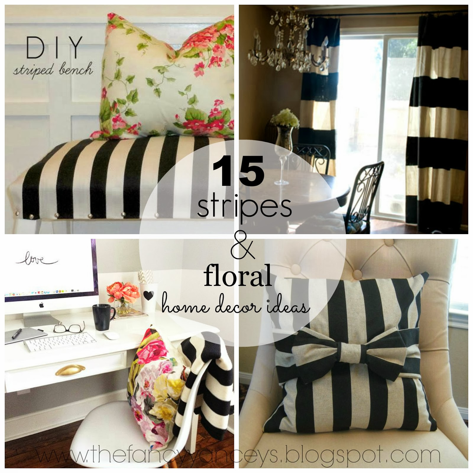 15 stripes & floral home decor | vintage romance style