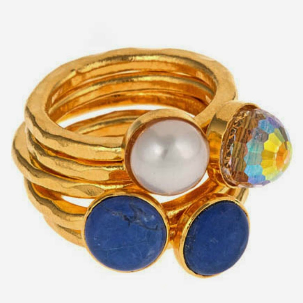 24k stackable ring set with natural gemstones