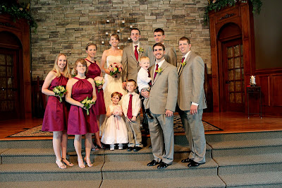 wine bridesmaid dress and gray groomsmen suit