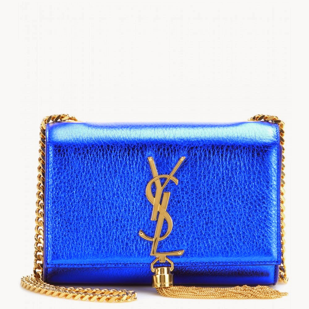 Saint Laurent Classic Monogram Metallic Blue Leather Shoulder Bag
