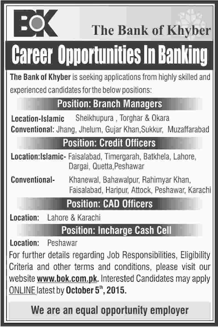 New Jobs in The Bank of Khyber