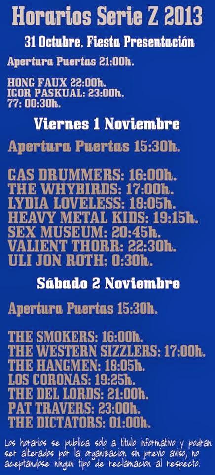 Horarios Serie Z Festival, http://psychoner.blogspot.com