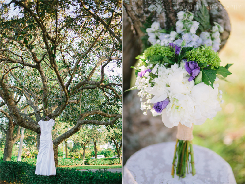 wedding dress hanging in trees purple bouquet