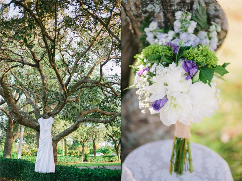 wedding dress hanging in trees purple bouquet