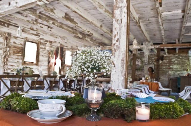 Vintage Rustic Farm Wedding Catskills shot by fine art wedding photographer Angela Cappetta view of place set for dinner in barn
