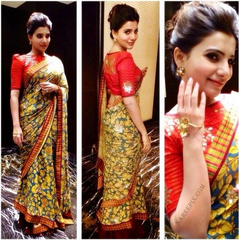 Samantha-ruthu-prabhu-printed-saree-Santhosham