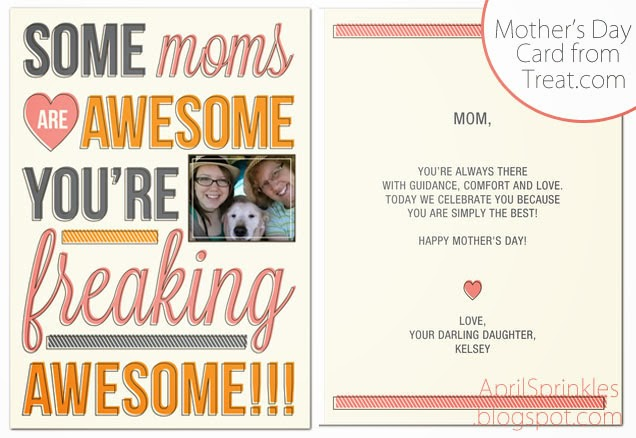 Mother's Day custom and DIY gift ideas Treat Card on April Sprinkles