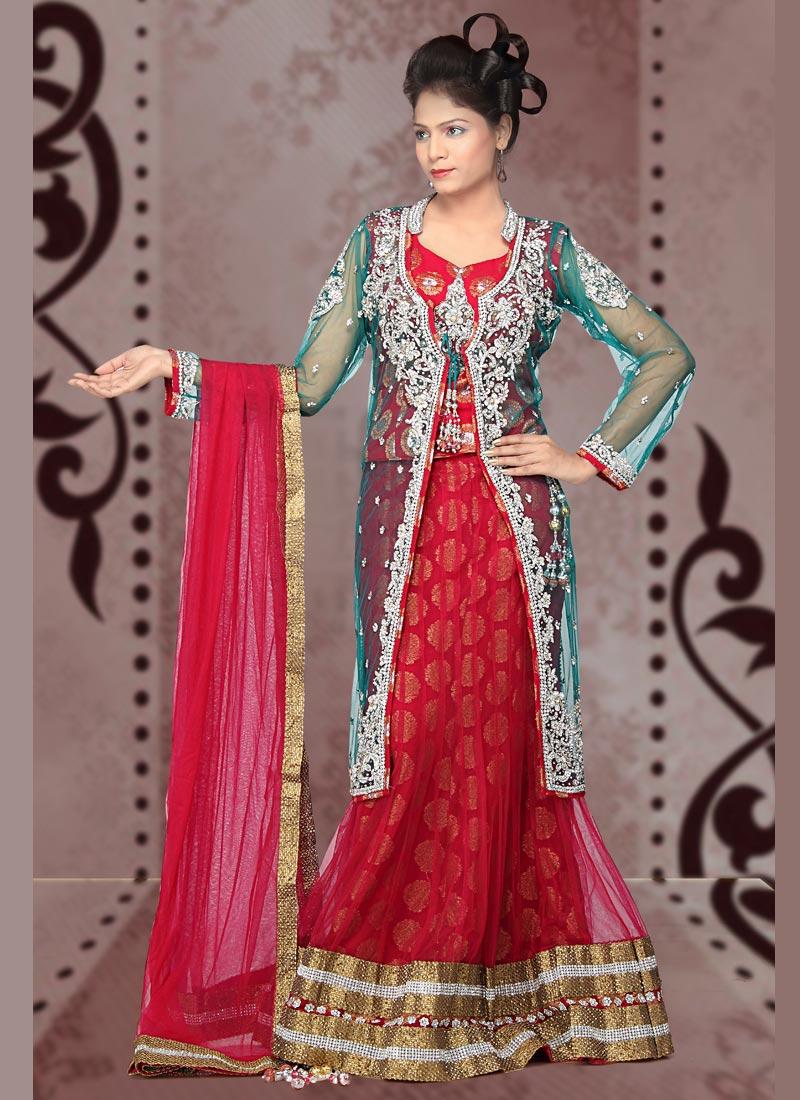 Double shirt dress design - Bridal Wedding Front Open Double Shirt Dresses With Lehenga Umbrella And Anarkali Style Frock With Lehenga Chal Abay