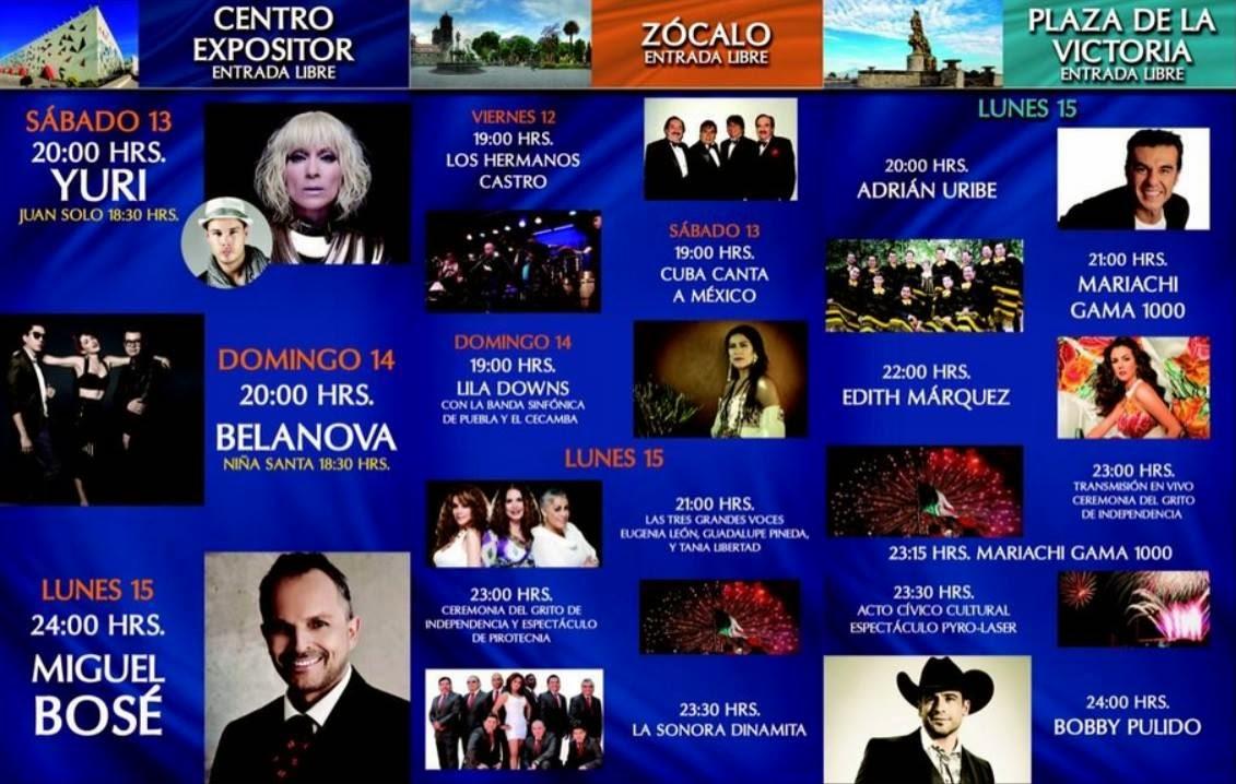 Artistas Fiestas Patrias Puebla 2014