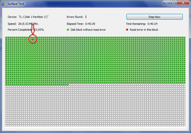 Asi que si el sistema esta lento es hora de hacer us test del disco