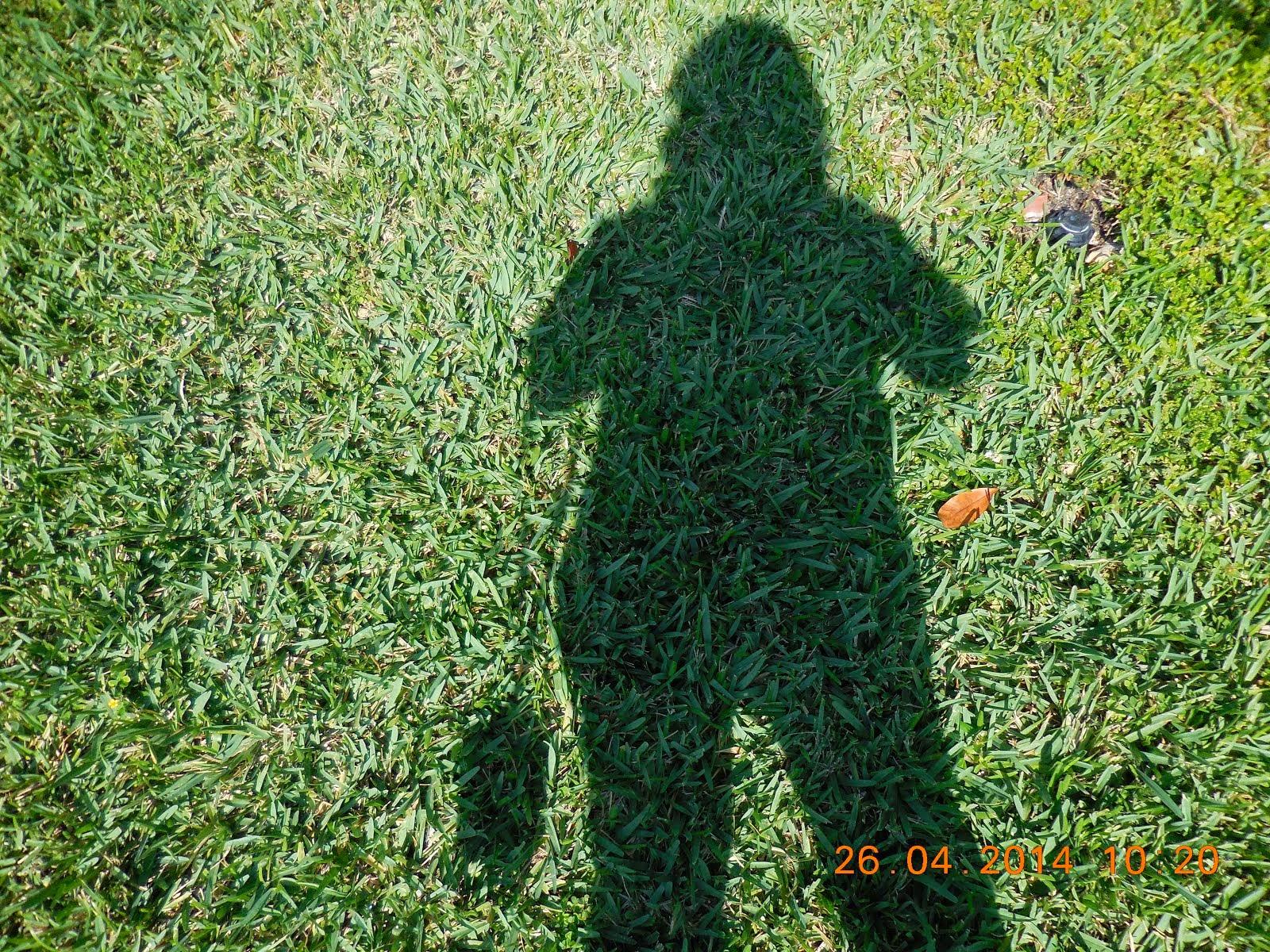 Mi sombra o perfil en el pasto. Soy aficionada a la fotografía.